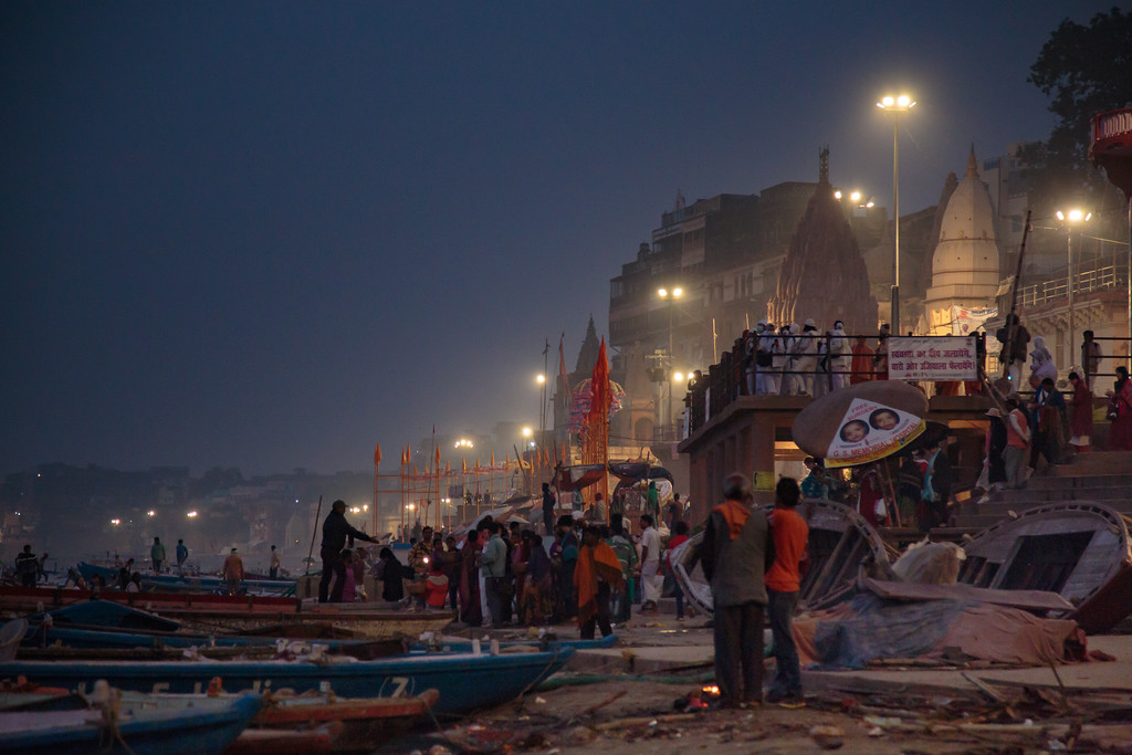 Ganges River in Varanasi, India before Sunrise