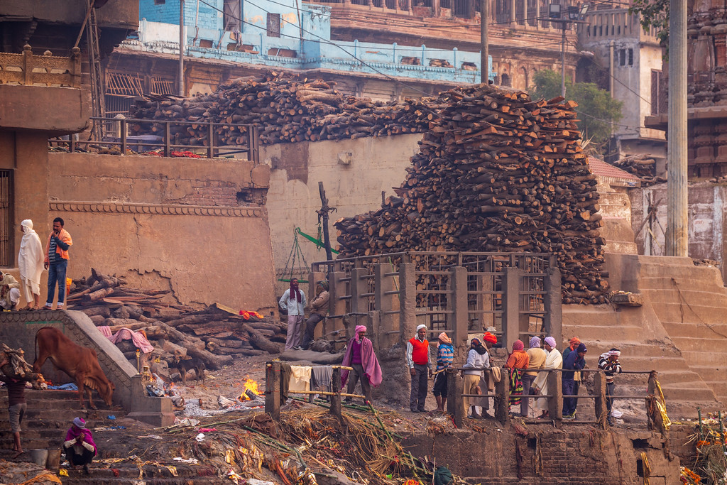 Image of Wood Piled High at the Manikarnika Burning Ghat in Varanasi Images