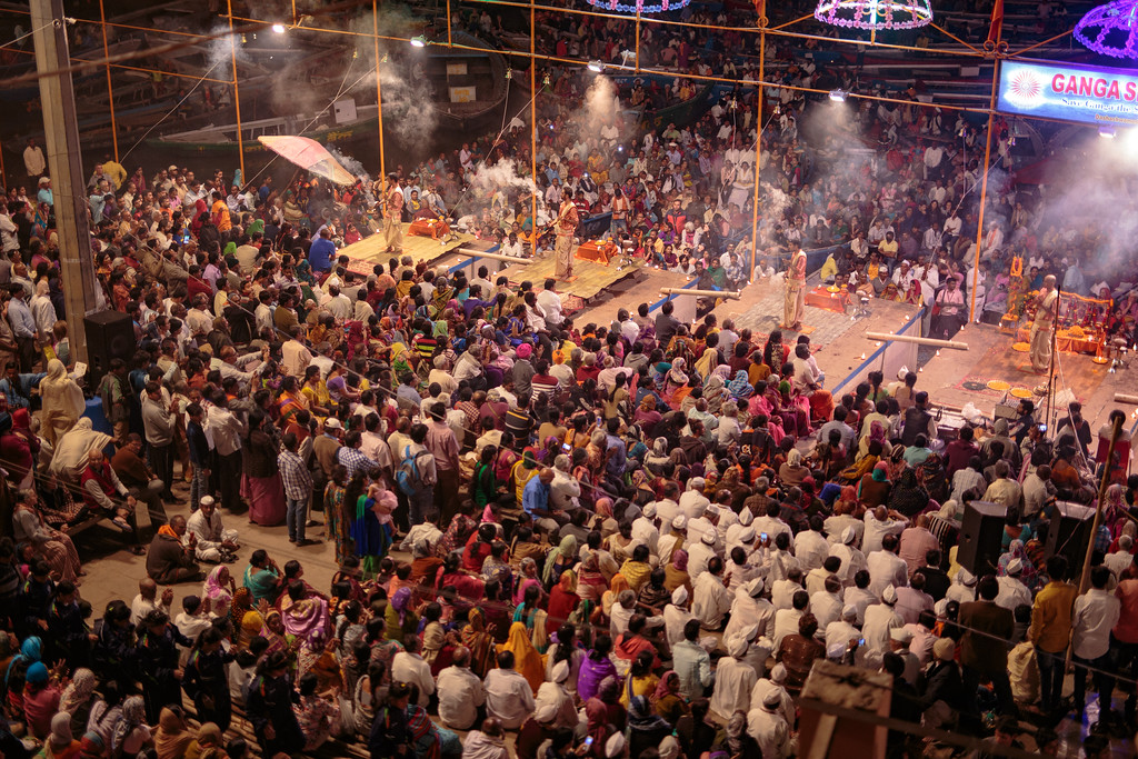 Image of Crowds at the Ganga Aarti Celebration on the Banks of the Ganges River