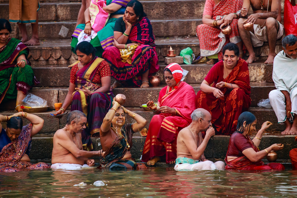 Image of Washing Away of Sins in The Ganges River in Varanasi, India