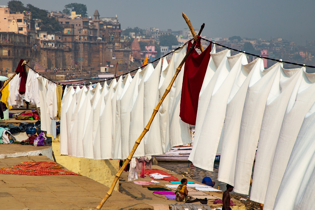 IMage of Whiter Than White Laundry Washed in the Water of the Ganges River at Varanasi