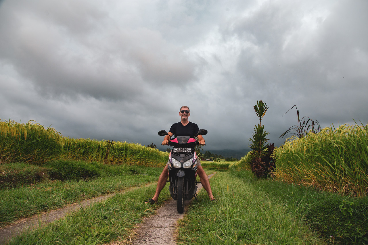 Riding a Motorbike in the Jatiluwih Rice Terraces of Bali, Indonesia