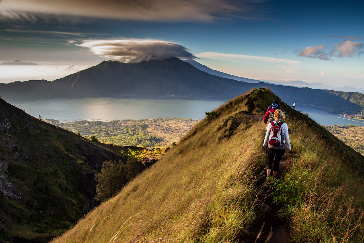 Hiking the Narrow Trail on Top of the Mount Batur Volcano Cone