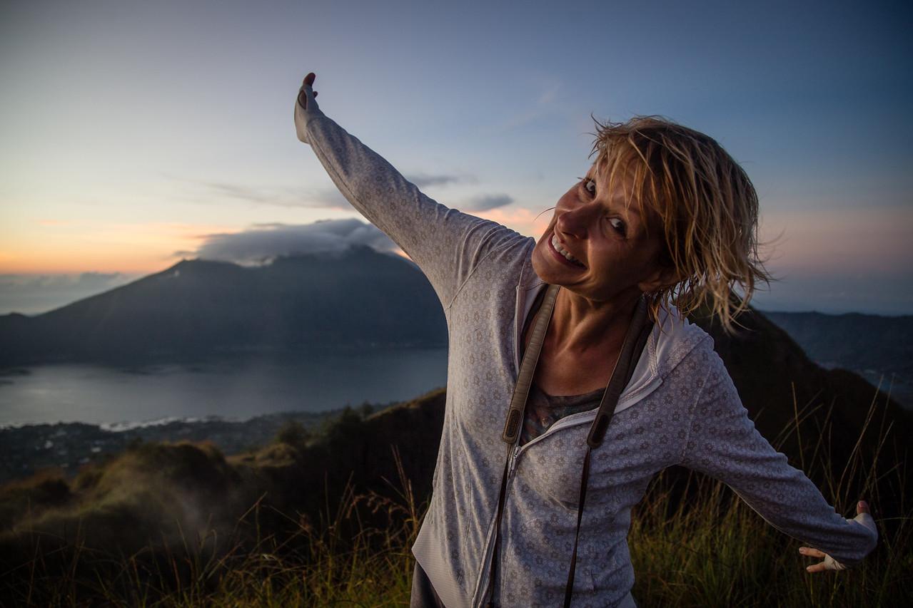 Sarah at the Top of Mount Batur