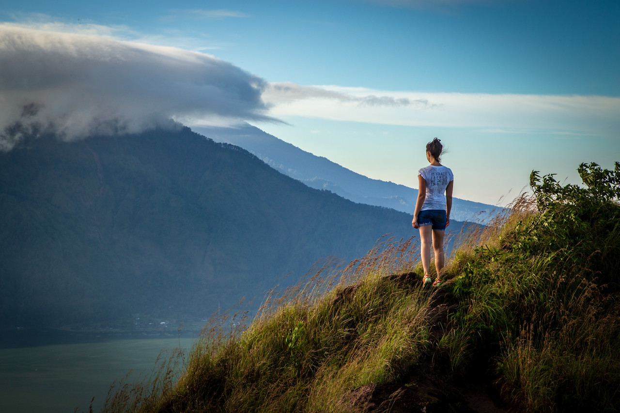 Hiker Admiring the Vista From Mount Batur Volcano