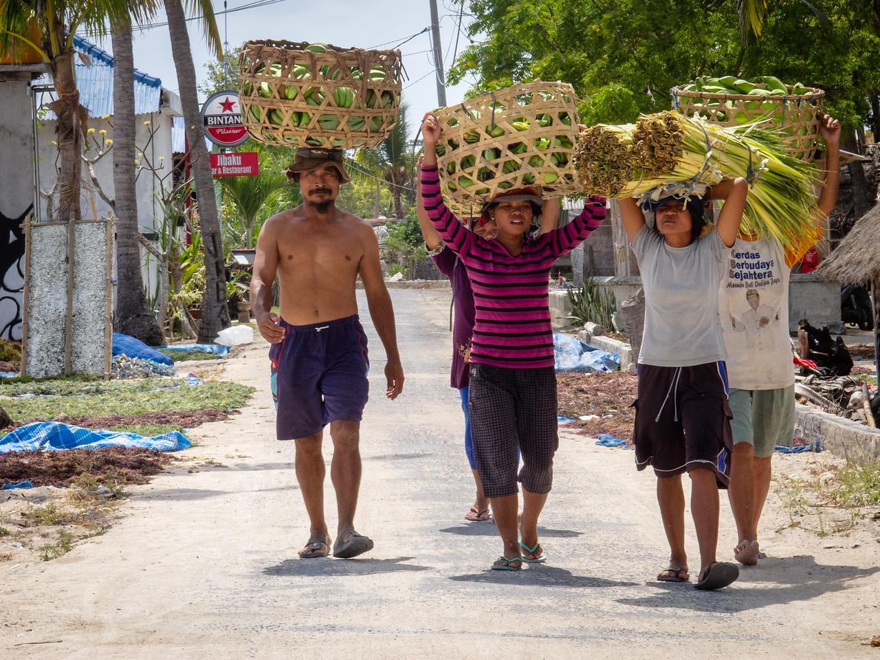 Farmers on Nusa Lembongan Taking Home Their Harvest of Papaya, Mangos and Lemongrass