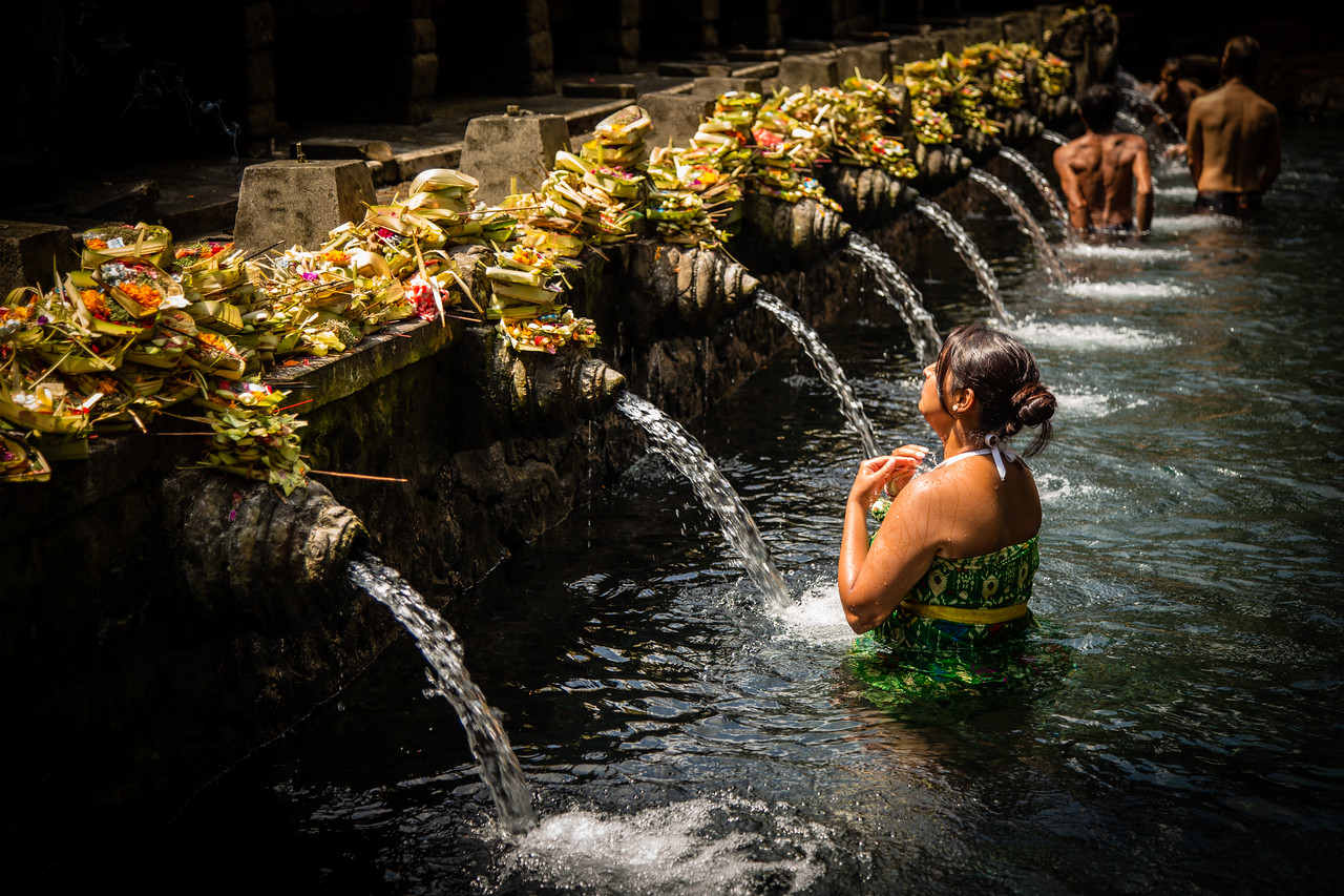 Bather at the Holy Springs of Bali