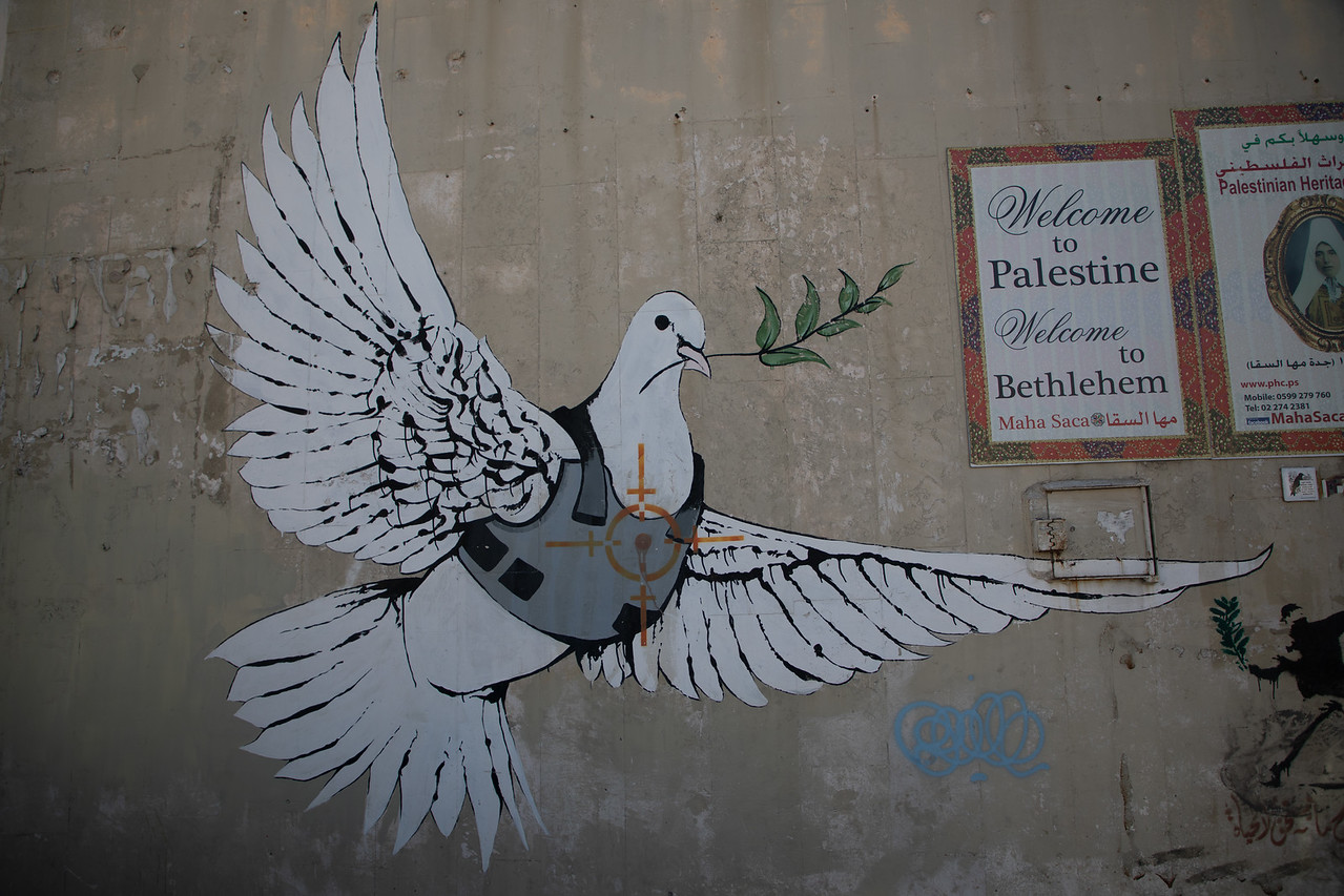 Banksy's Armored Dove of Peace in Bethlehem