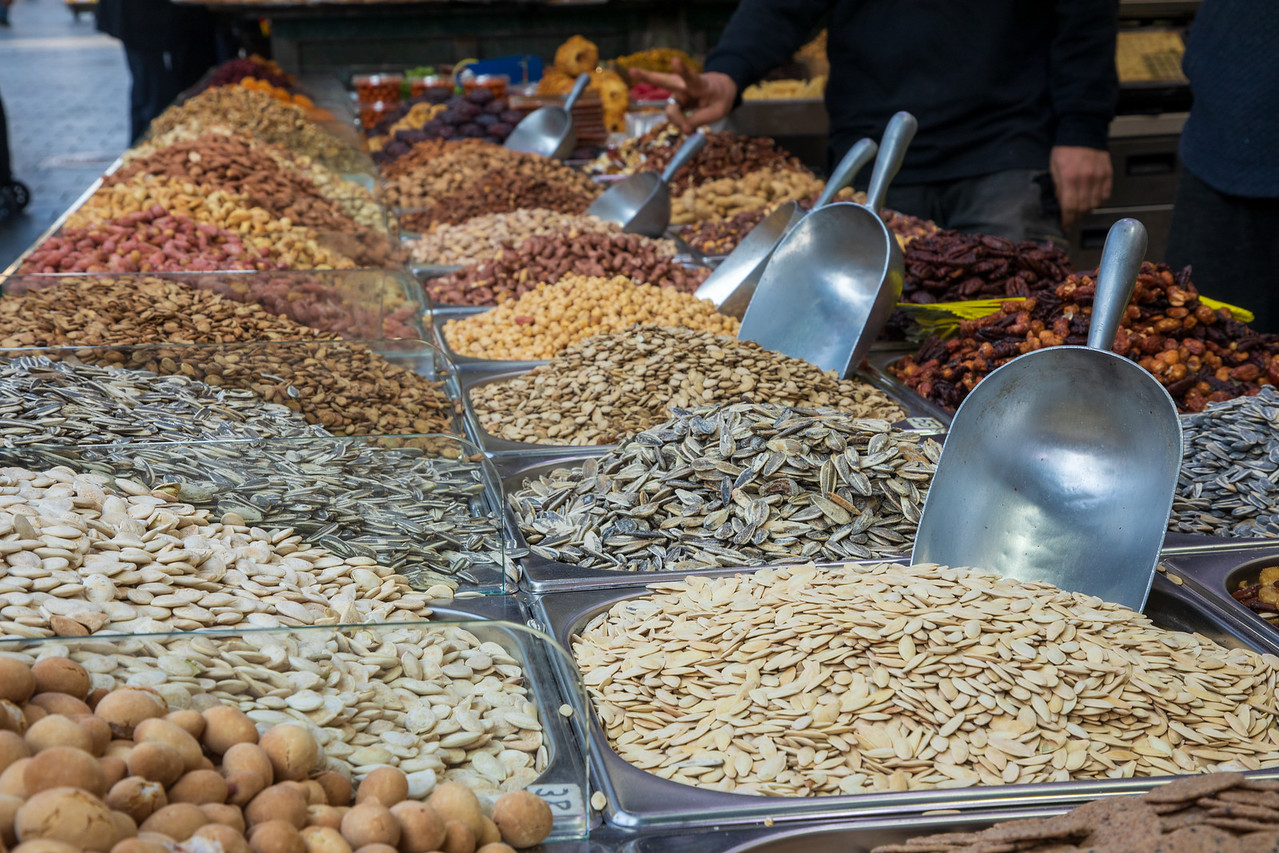Nuts For Sale in the Mahane Yehuda Market