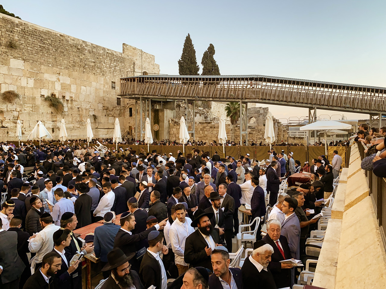 Wooden Walkway to the Temple Mount Through The Western Wall