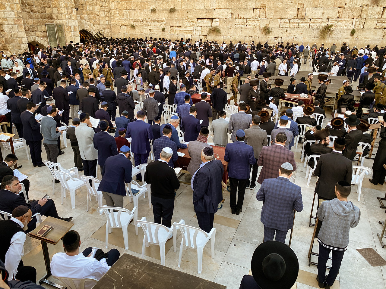 Gathering at the Western Wall Before the Start of Shabbat