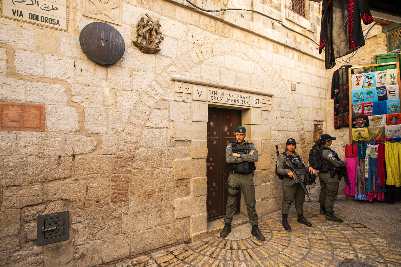 Soldiers Guarding the Fifth Station of the Cross on the Via Dolorosa