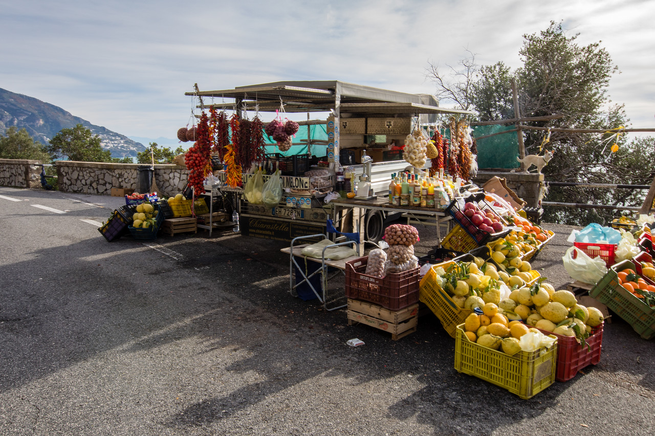 Roadside Market Stall Seen While Driving the Amalfi Coast