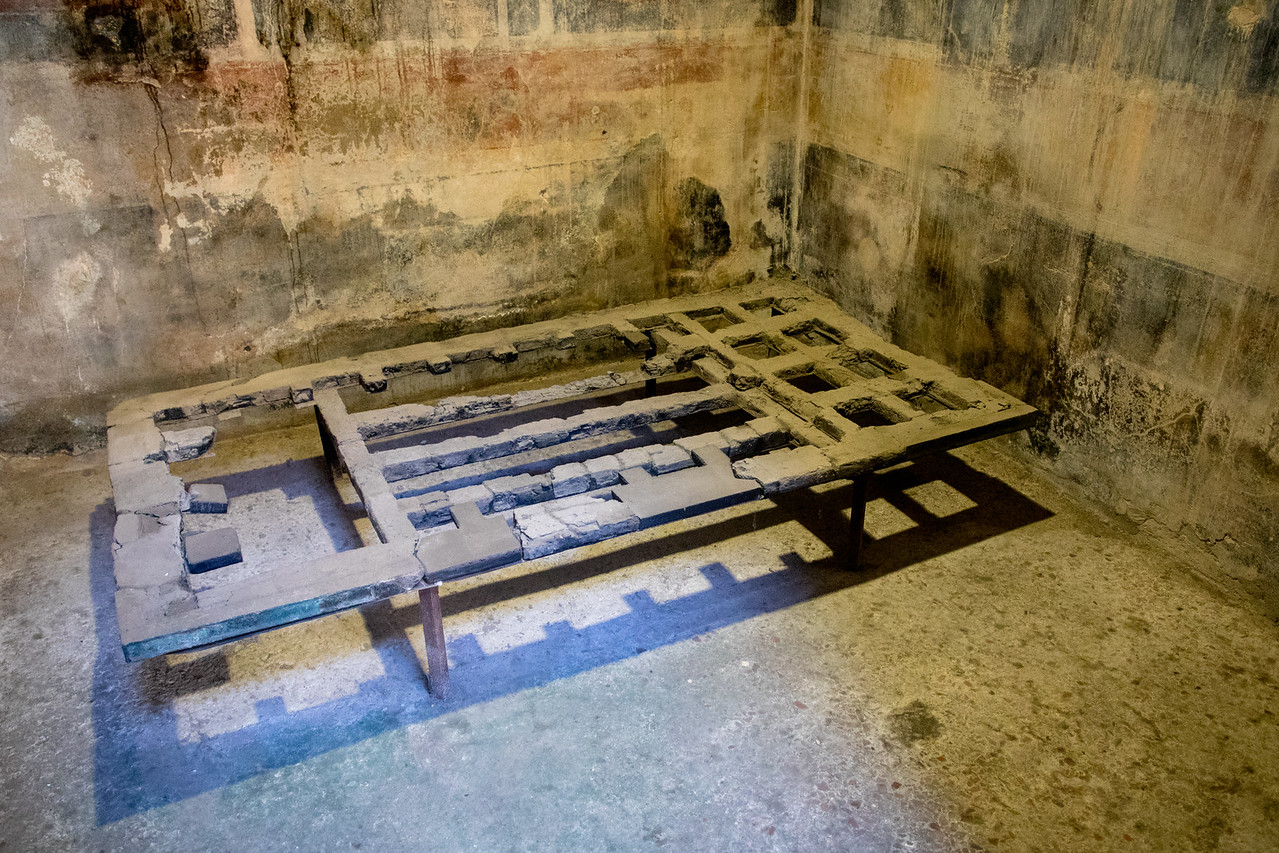 A Charred Bedframe in Herculaneum