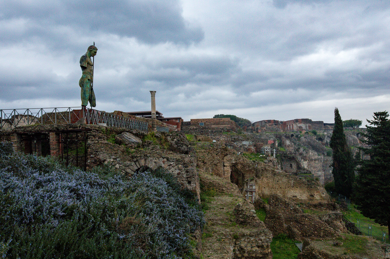 Modern Giant Bronze Sculpture of Apollo by Igor Mitoraj Overlooks Modern Pompeii from the Ruins of the Old