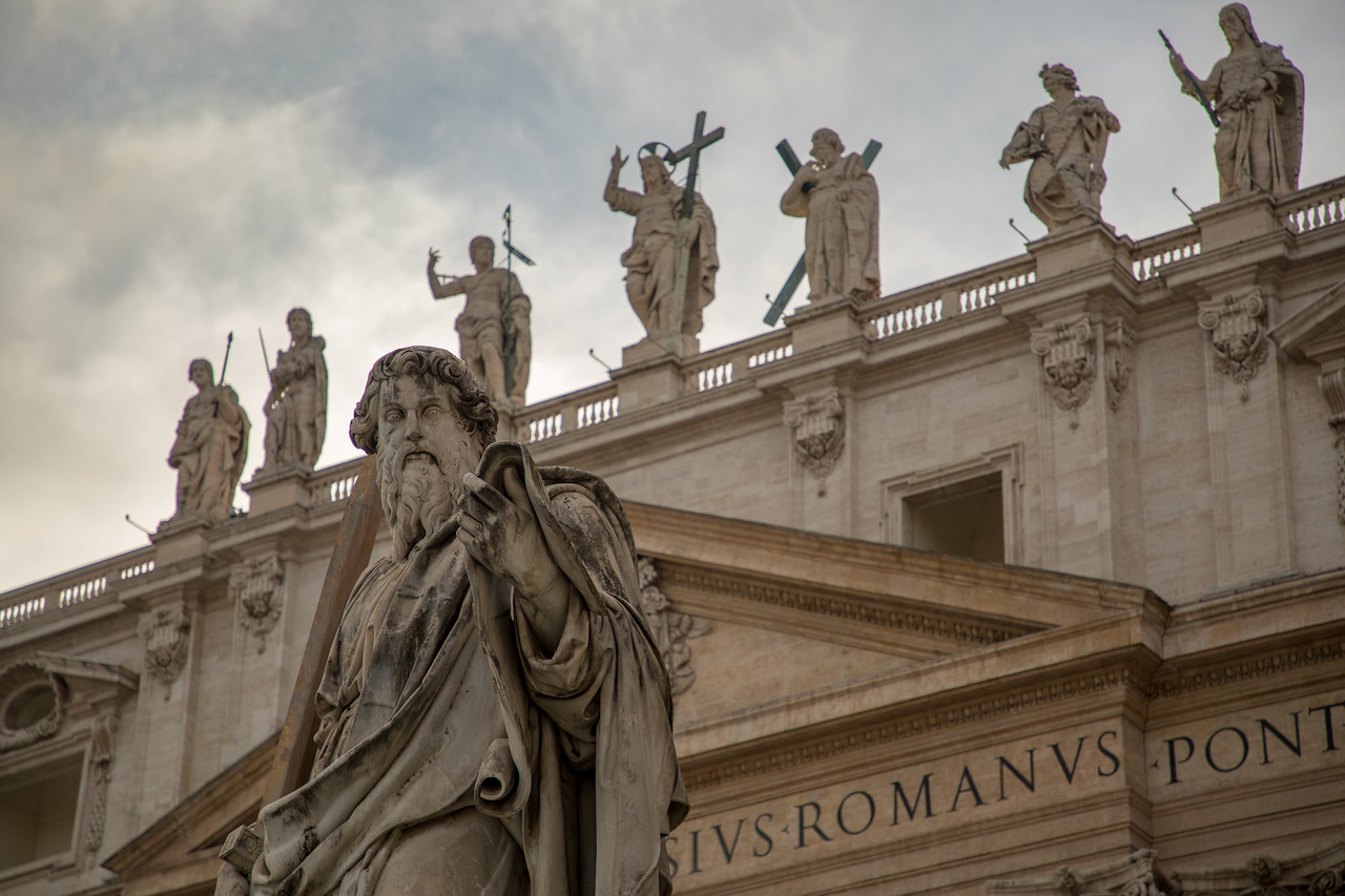 Statues in Saint Peter's Square in the Vatican