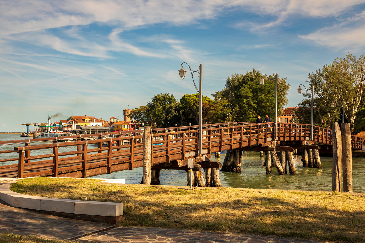 The wooden bridge connecting Burano Island with Mazzorbo Island - Venice