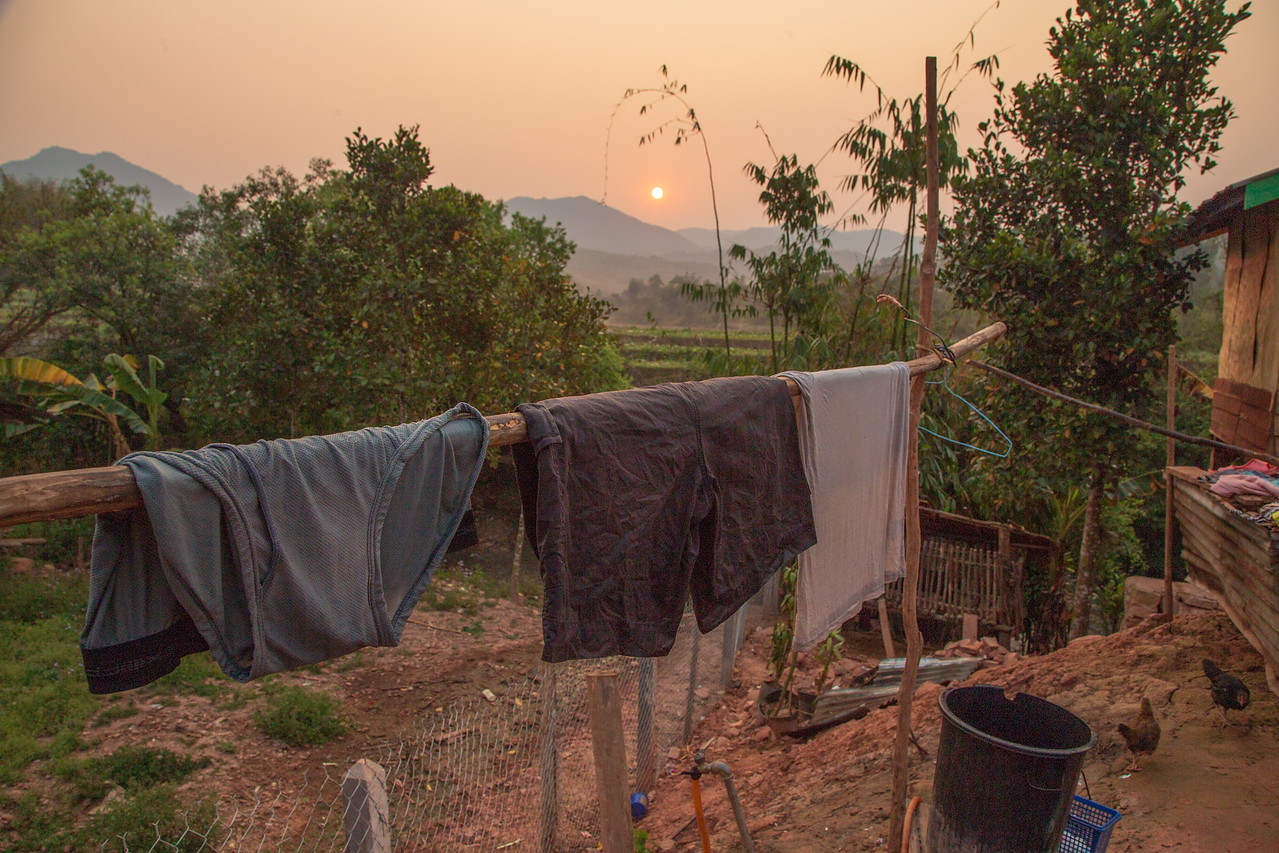 My Laundry Drying in the Sunset in a Hill Tribe Village in Laos