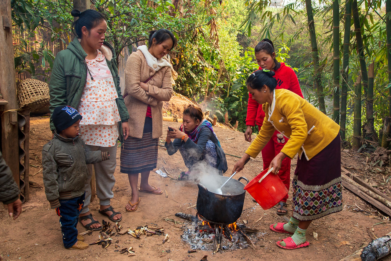 Hill Tribe Villagers Overflow Cooking Area