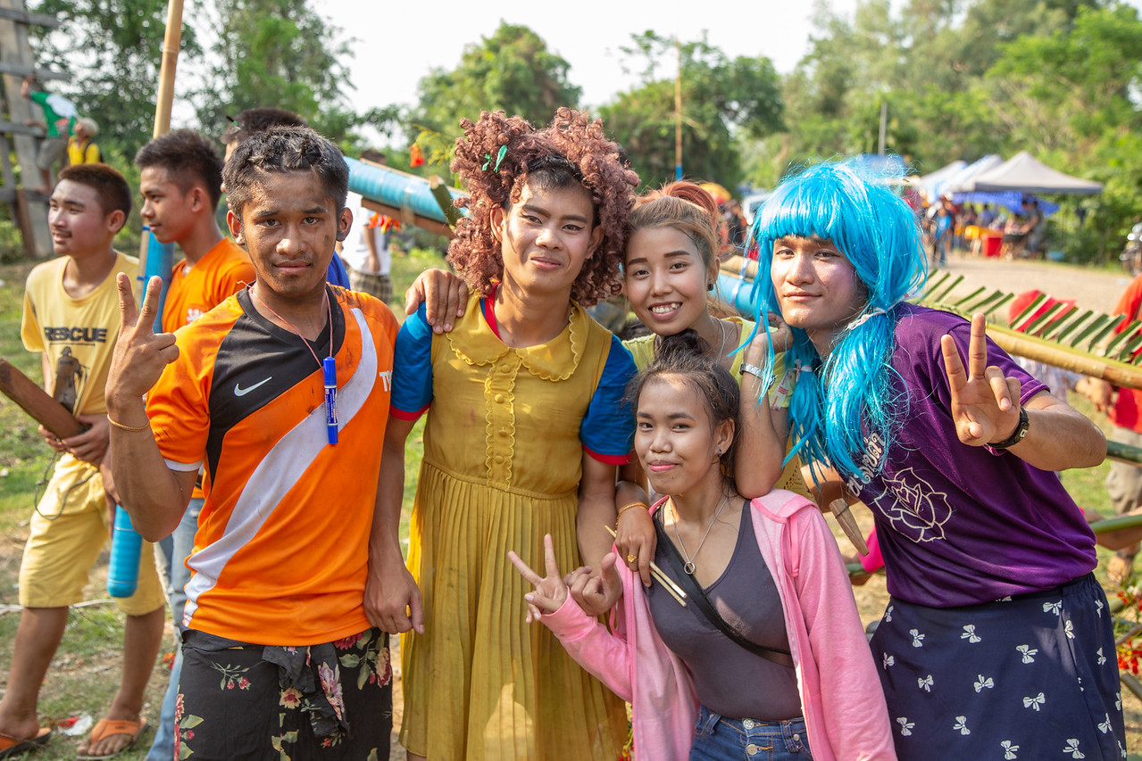 Crossdressing Celebrants at the Bun Bang Fai Laos Rocket Festival
