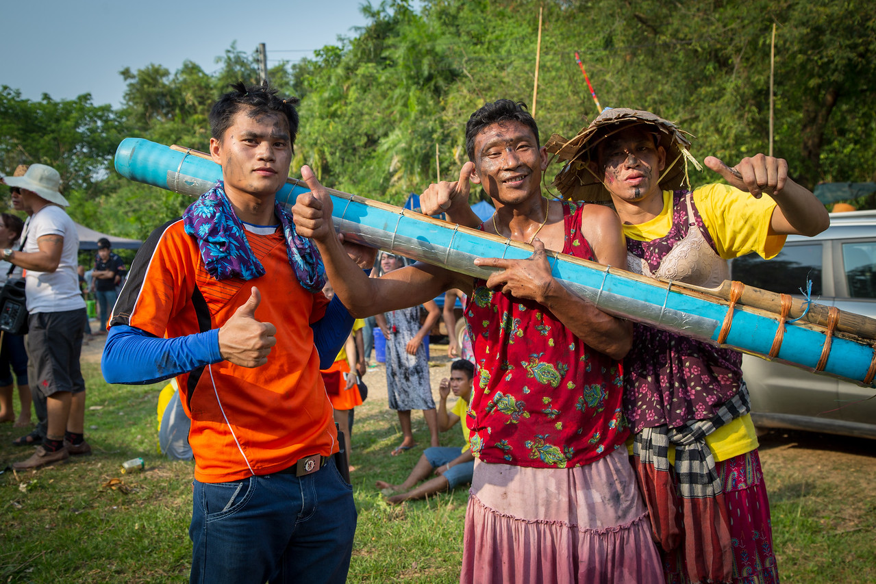 Celebrants at Bun Bang Fai Laos Rocket Festival
