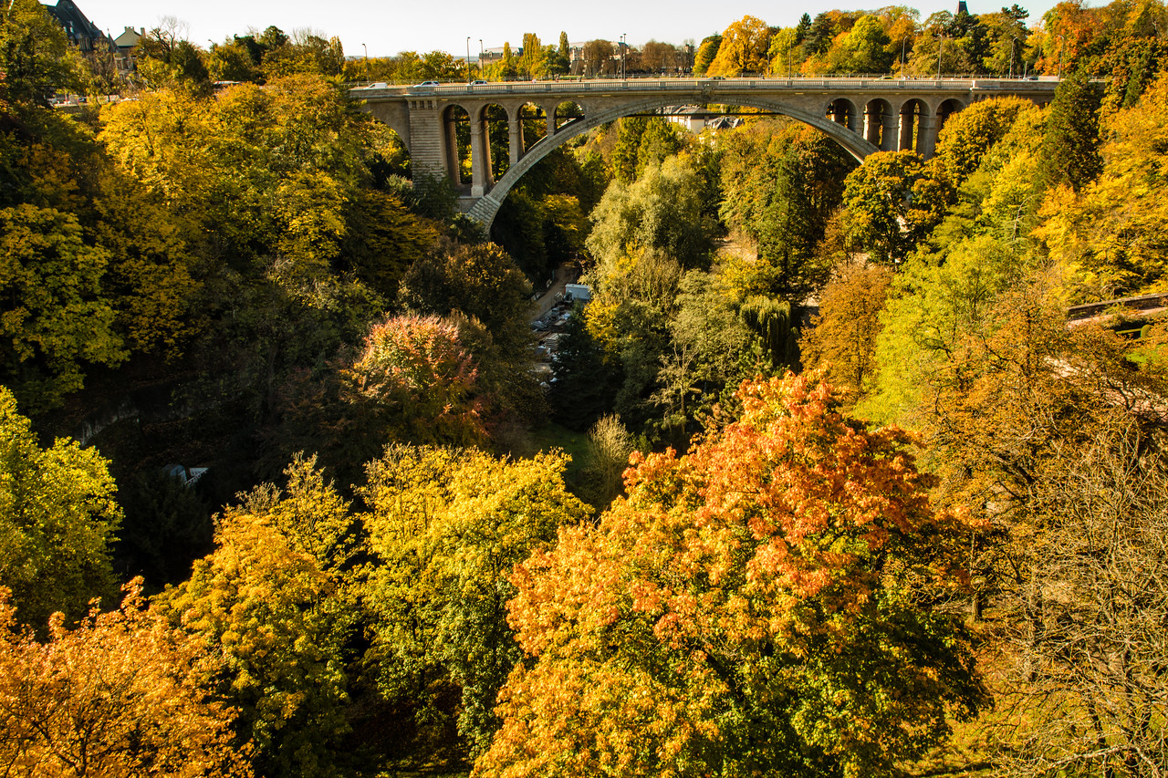 Pont Adolphe Bridge in Luxembourg during Autumn