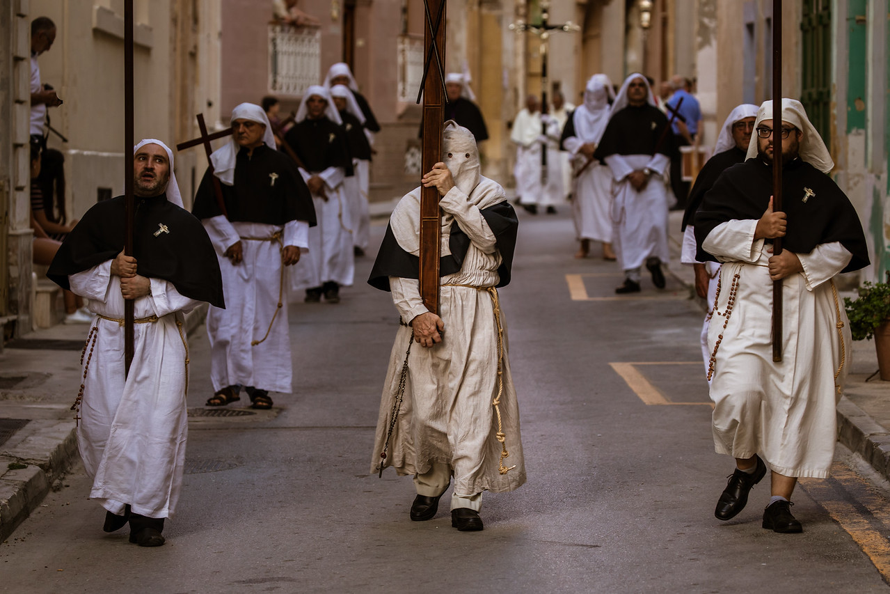 Marching at the Feast of Vows in Senglea Malta