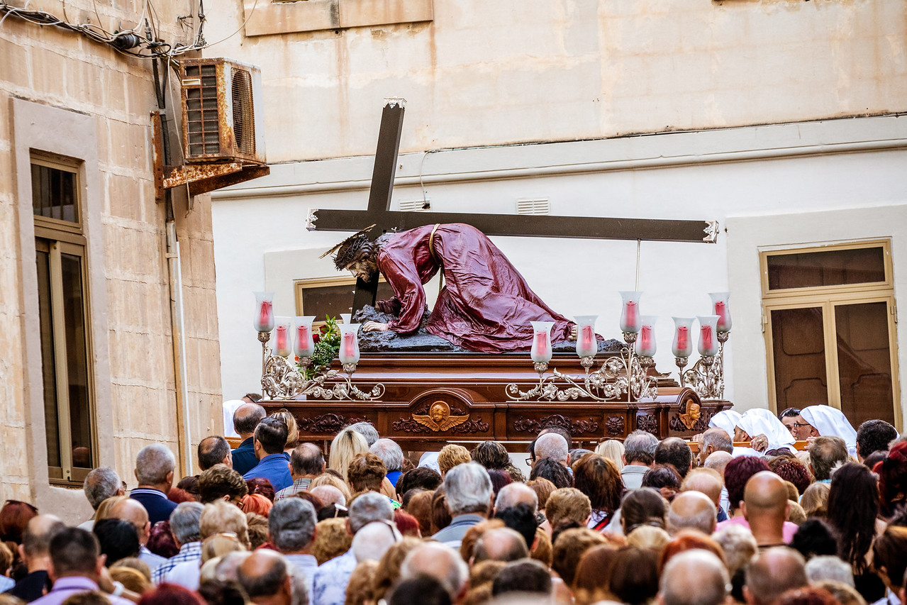 Procession Following Jesus the Redeemer At The Feast of Vows in Senglea, Malta