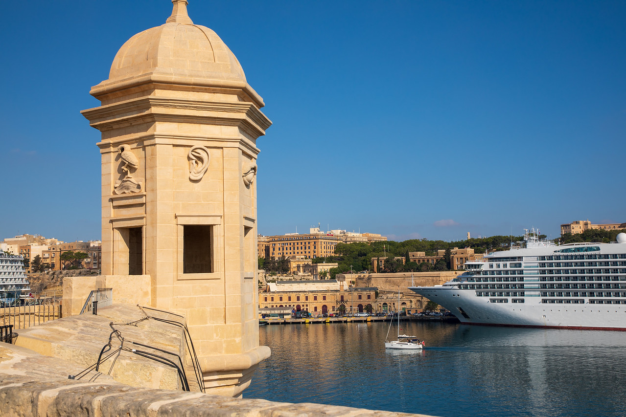 View of Grand Harbor and Valletta Waterfront From Gardjola Gardens