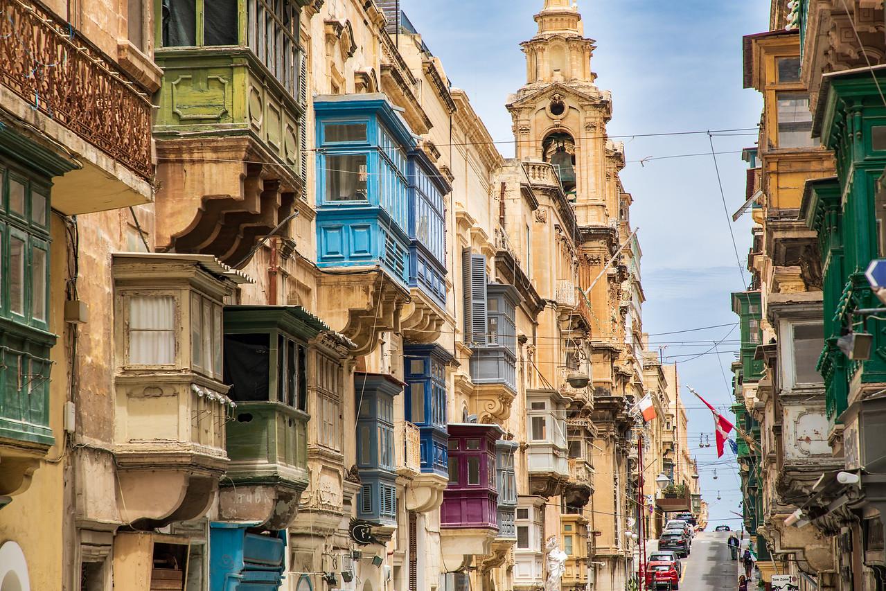 Gorgeous Maltese Balconies a.k.a. Gossip Balconies in Valletta, Malta