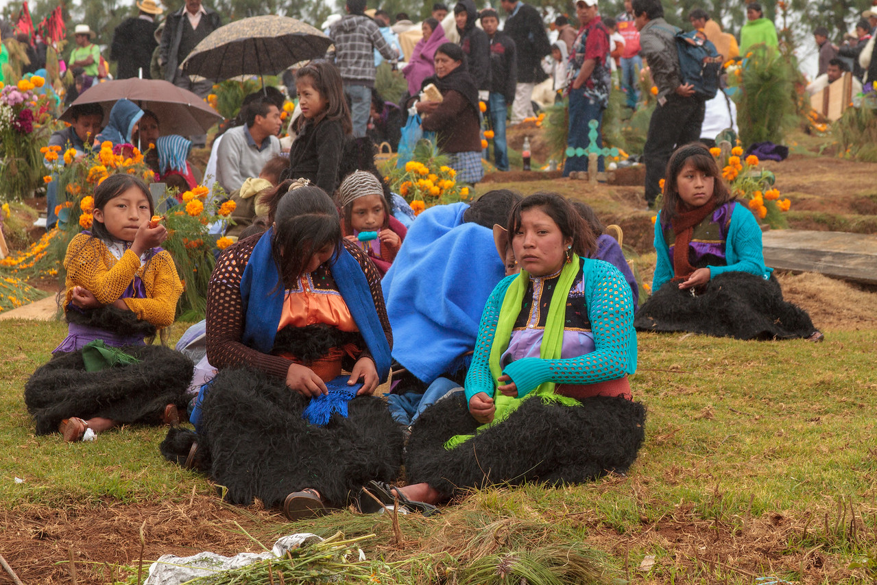 Celebrants at a Rainy Día de los Muertos Celebration in Chiapas, Mexico