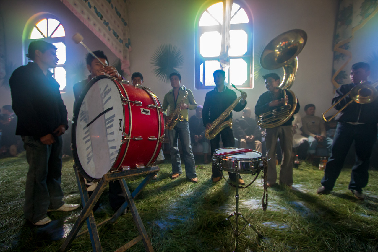 The Band Plays Inside a Traditional Indigenous Tzotzil Chamulan Church