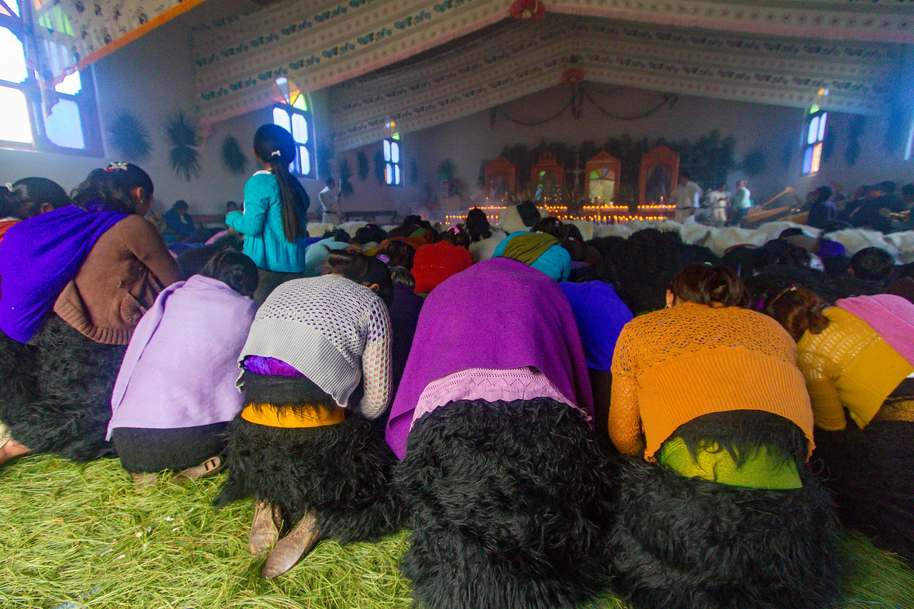 Women Bow on a Carpet of Pine Needles in a Tzotzil Chamulan Church