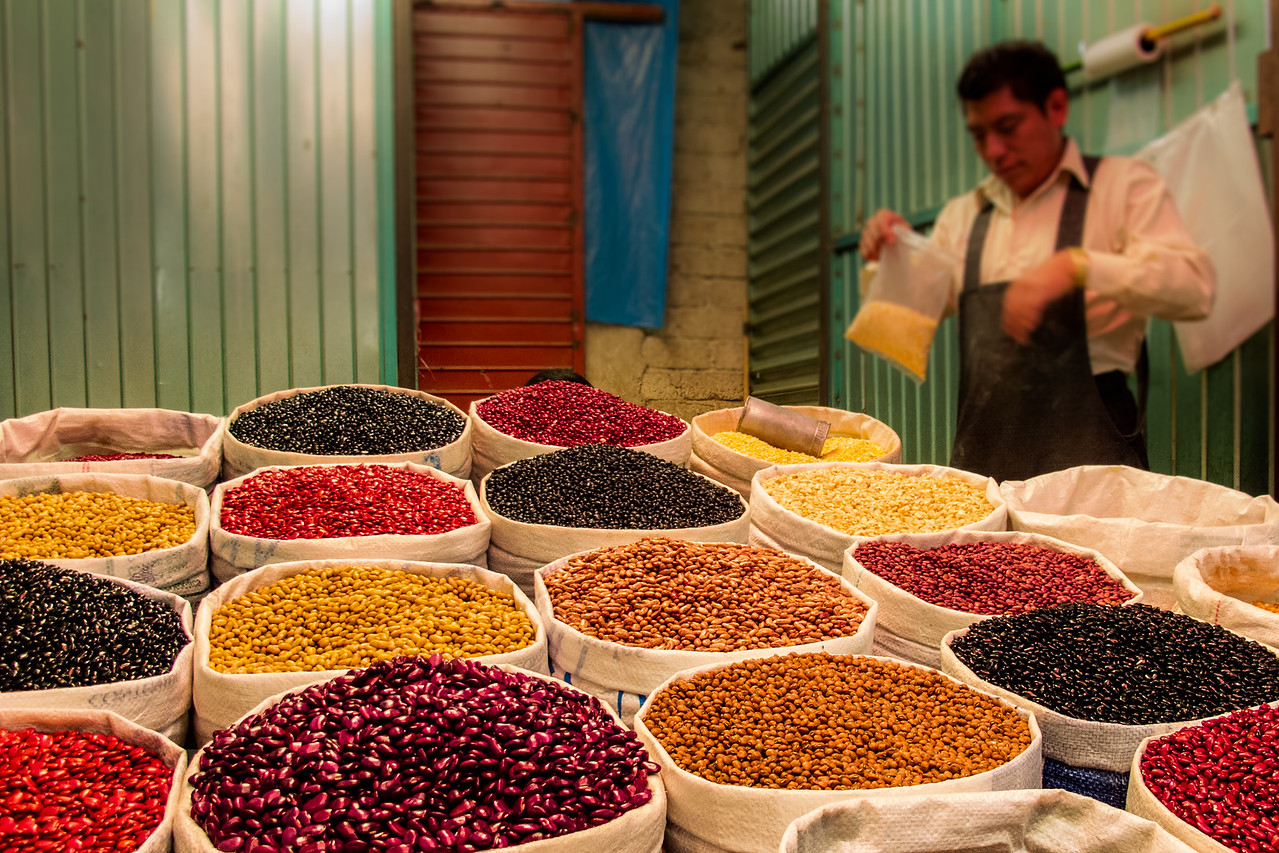 Bean and Grain Vendor in San Cristobal Food Market