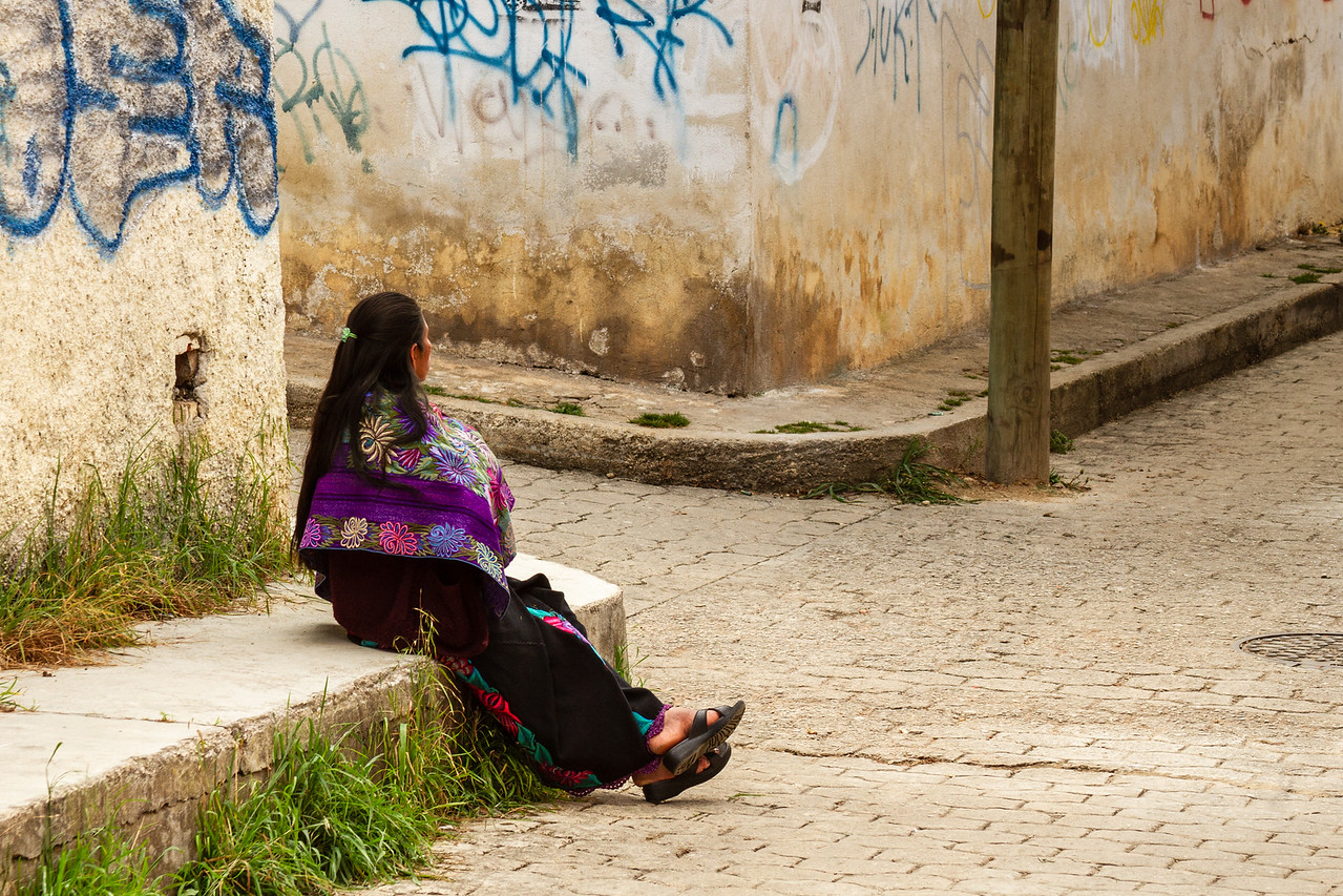 Mayan Woman in Traditional Dress on Back Streets of San Cristobal de las Casas Mexico