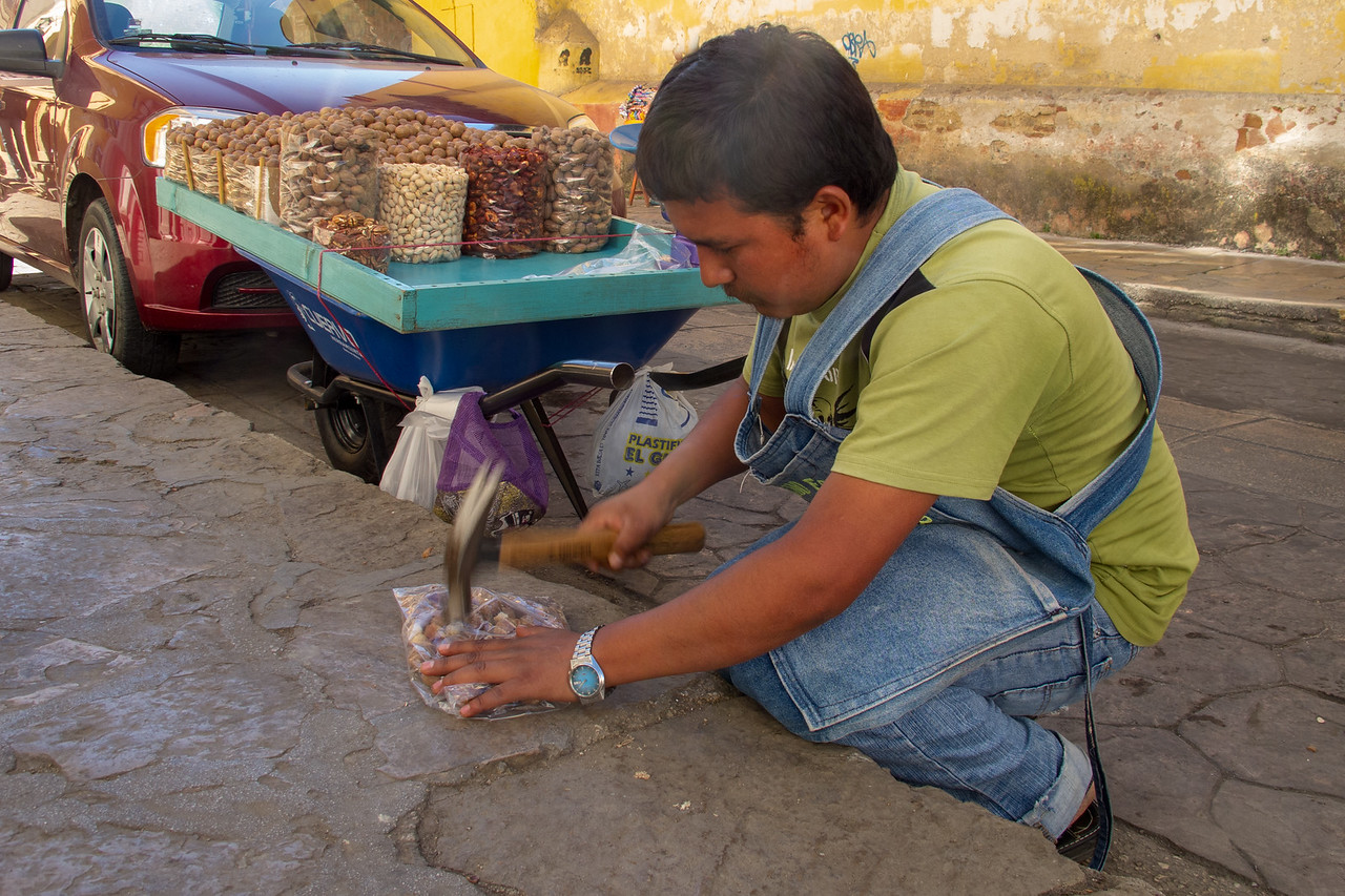 Macadamia Nut Vendor in San Cristobal de las Casas Mexico