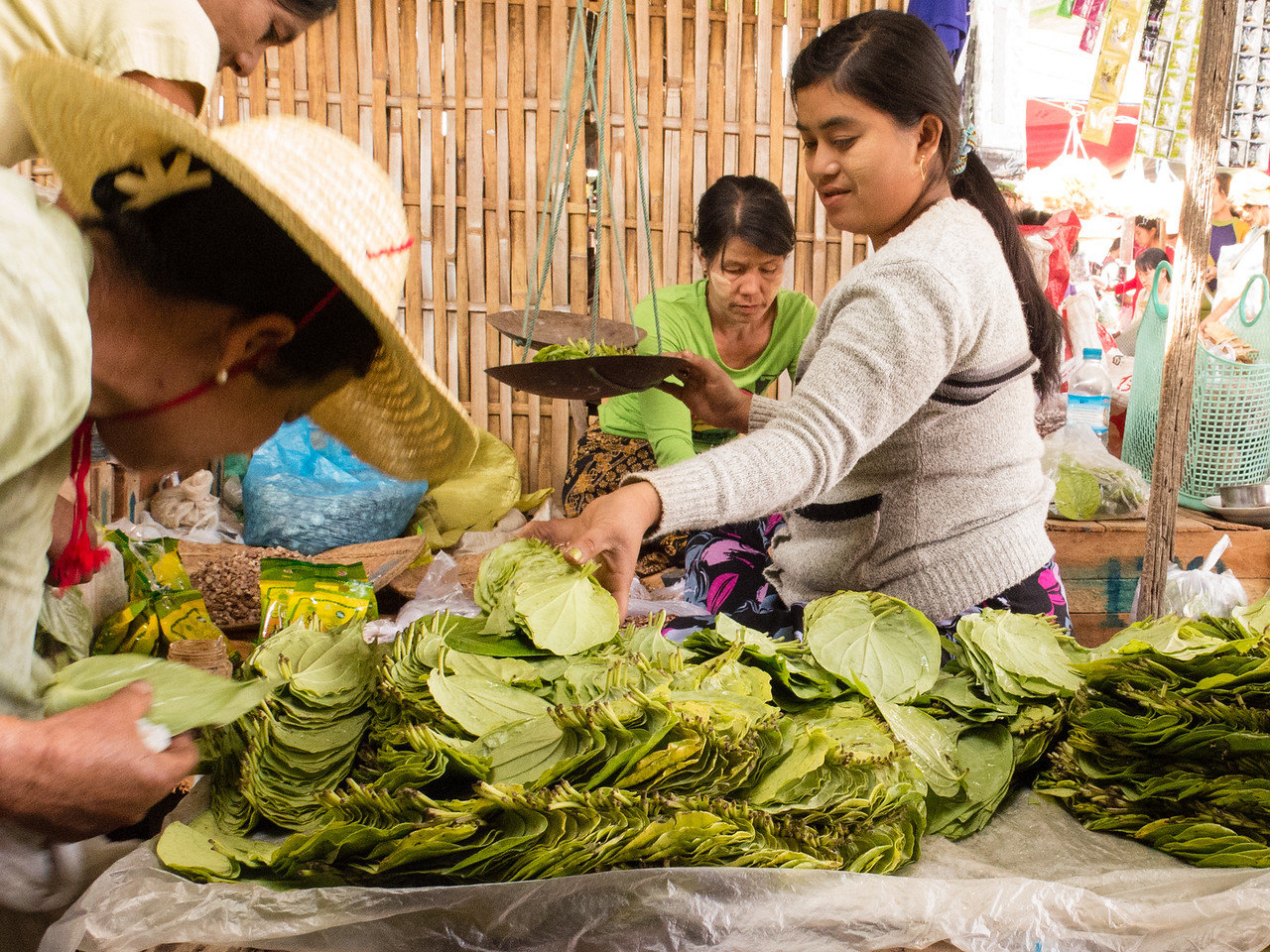 Betel Vine Leaves for Sale in Burmese Market Betel Nut