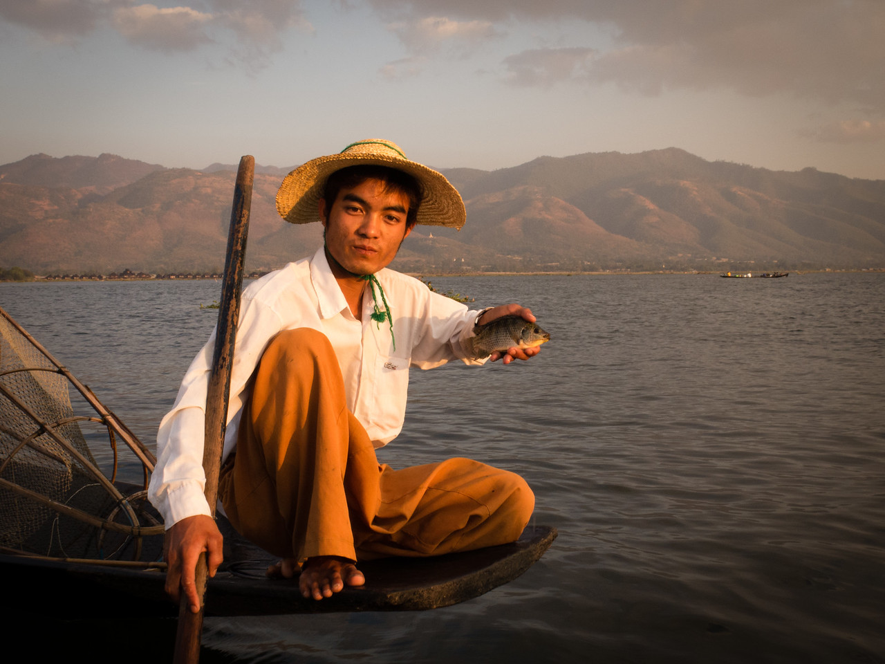 Inle Lake Myanmar Fisherman with his Catch