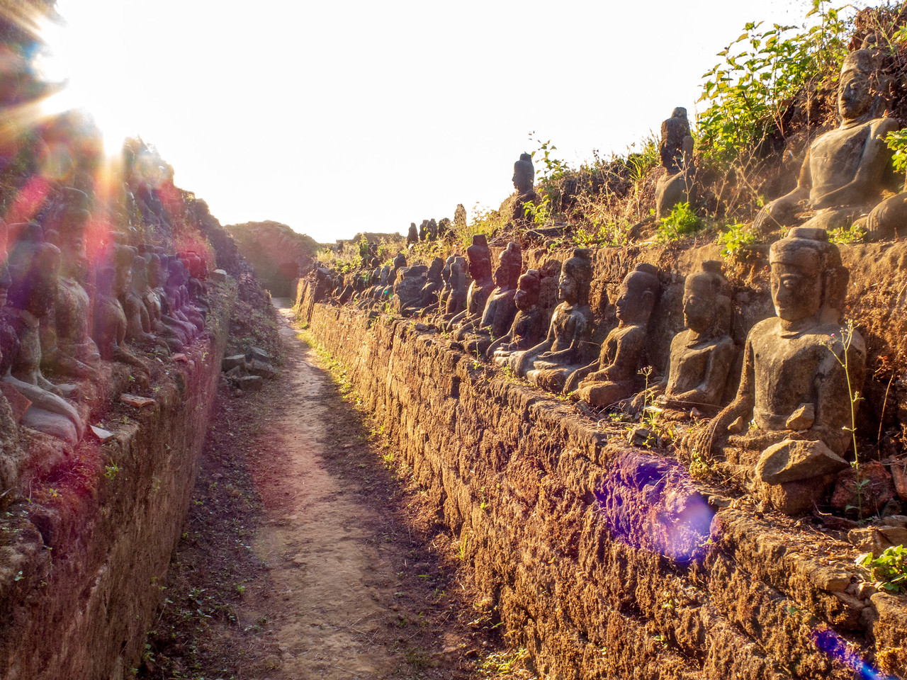 Buddhas in the Sunshine at Kothaung Paya Temple in Mrauk OO