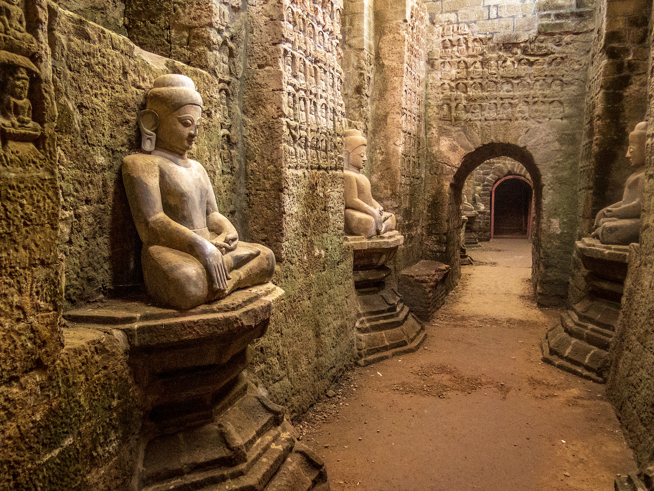 Interior of Kothaung Paya Temple in Mrauk OO