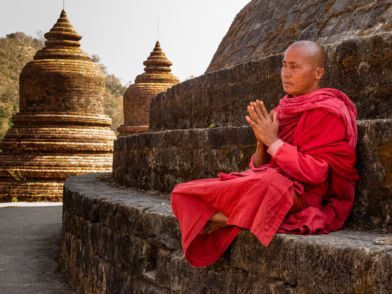 Monk meditating at Andaw Paya Temple
