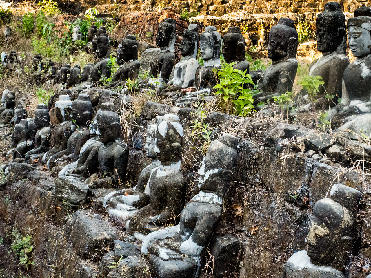 Closeup of Some of the 90,000 Buddhas at Interior of Kothaung Paya Temple