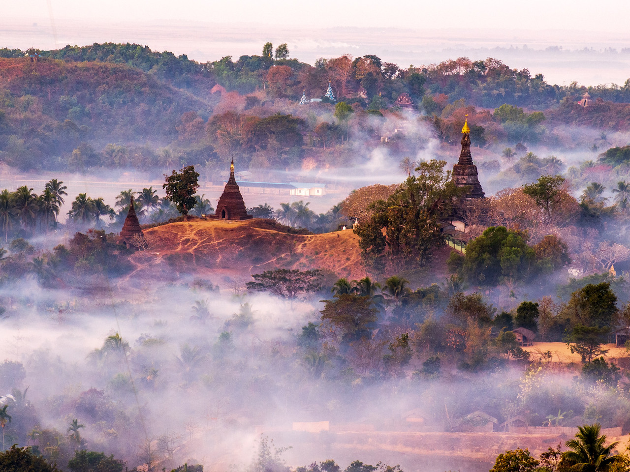 Fog Shrouds the Temples of Mrauk OO