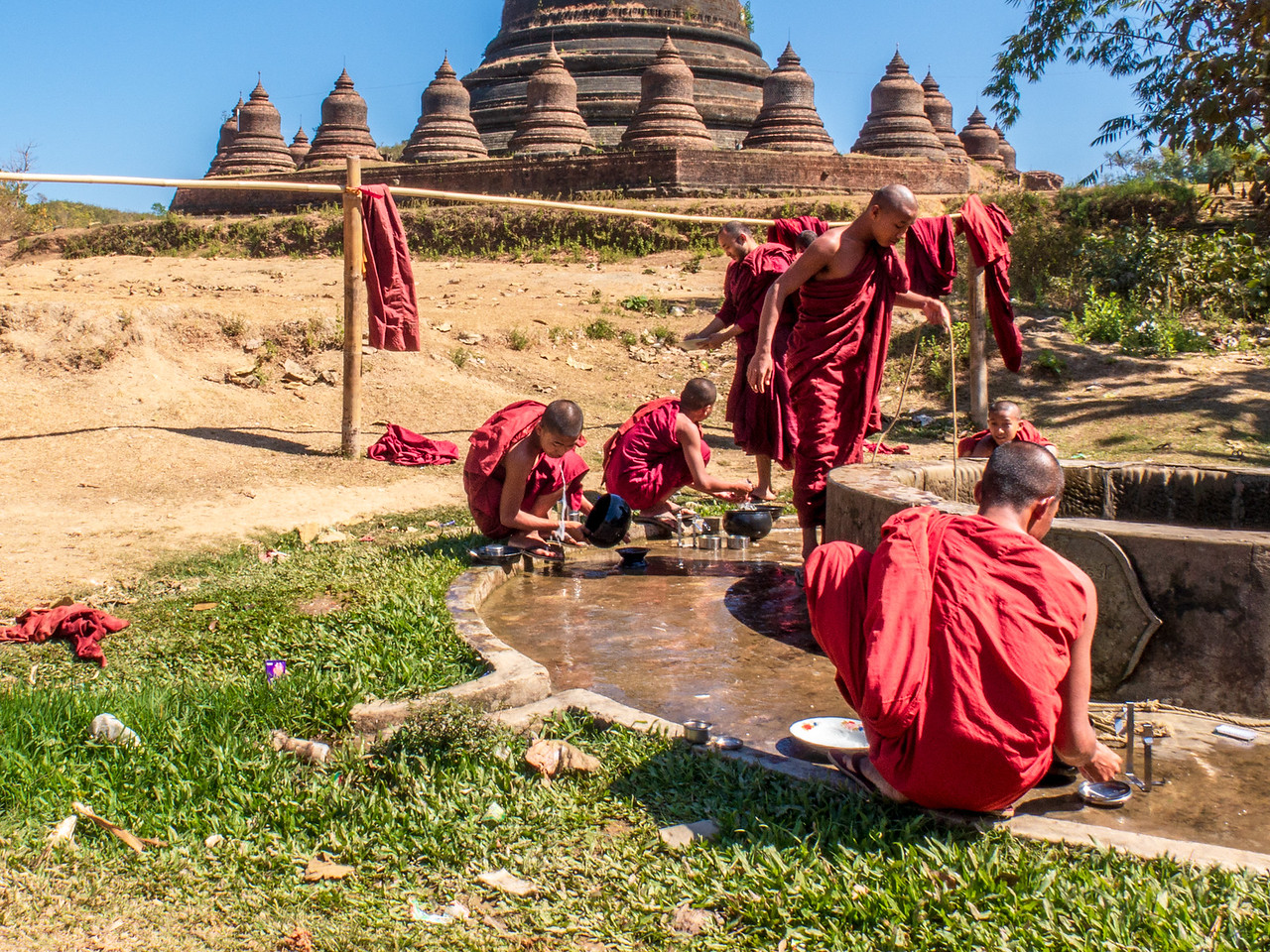 Monks Wash up at Andaw Paya Temple in Mrauk U
