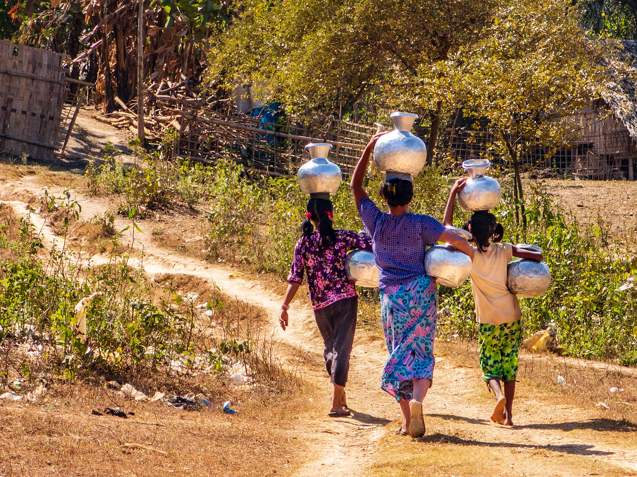 Women Carrying Water in Mrauk OO, Myanmar