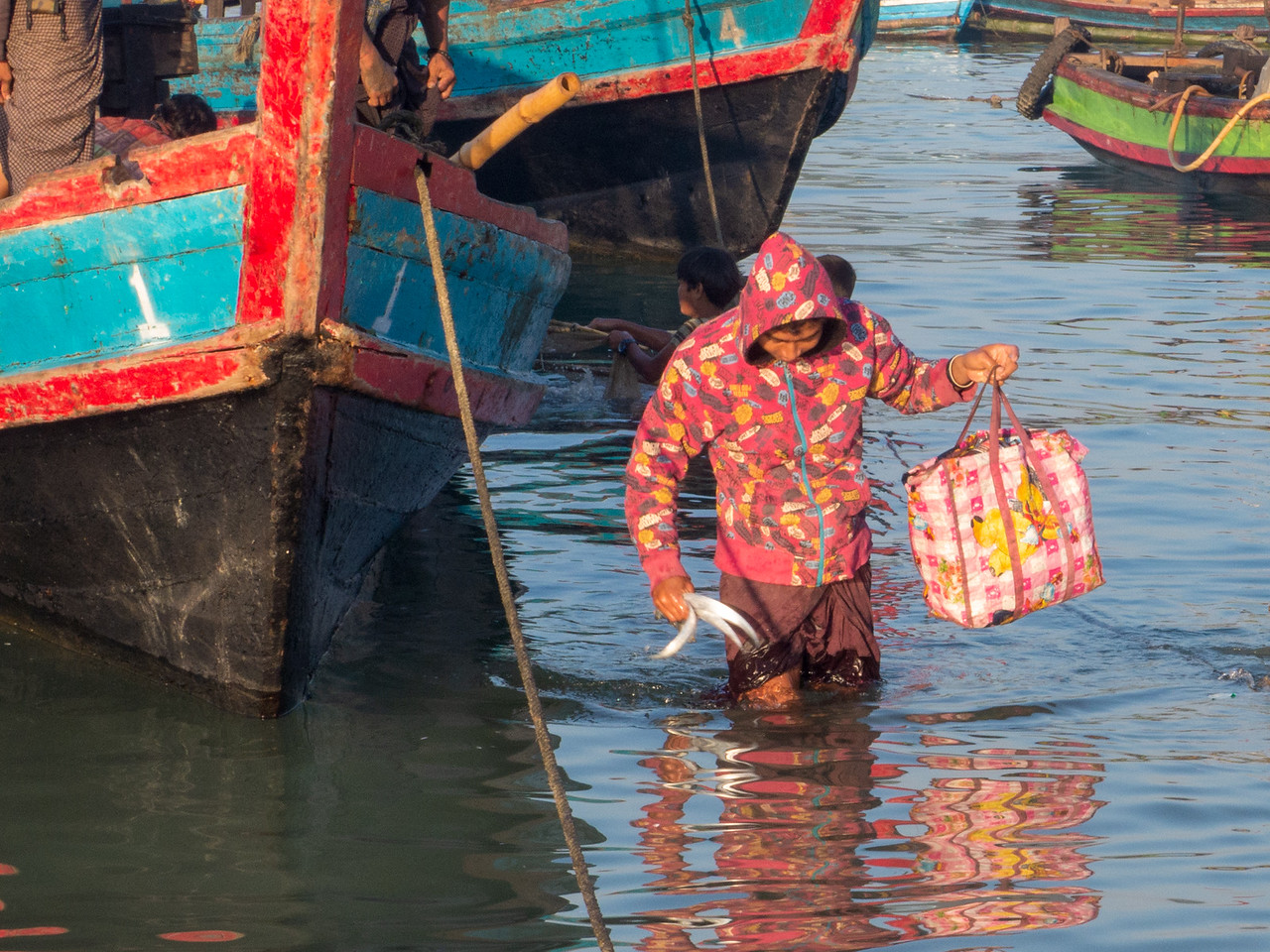 Myanmar Fisherman Leaving His Boat After a Long Night in the Bay of Bengal