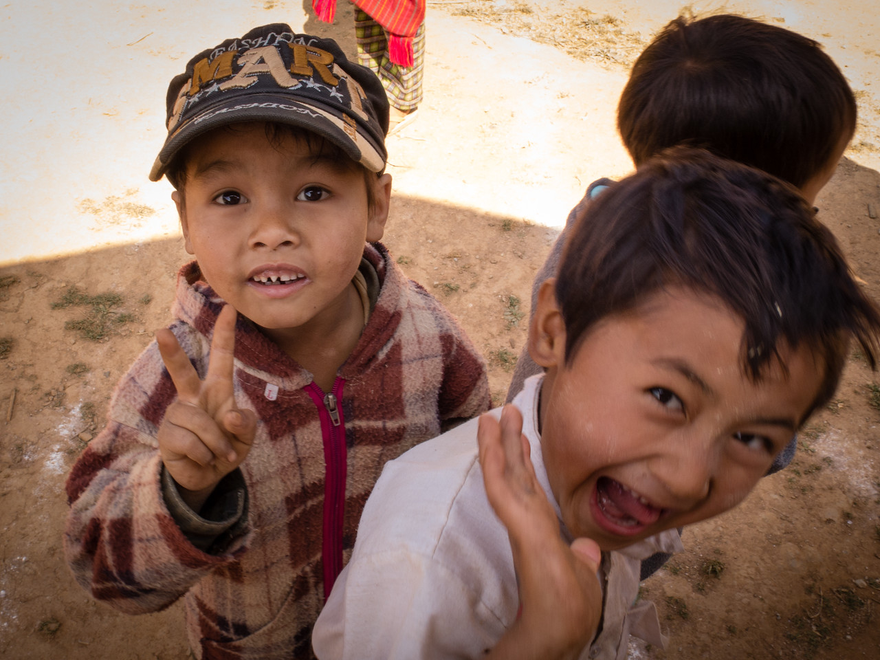 Burmese Children Cutting Up for the Camera