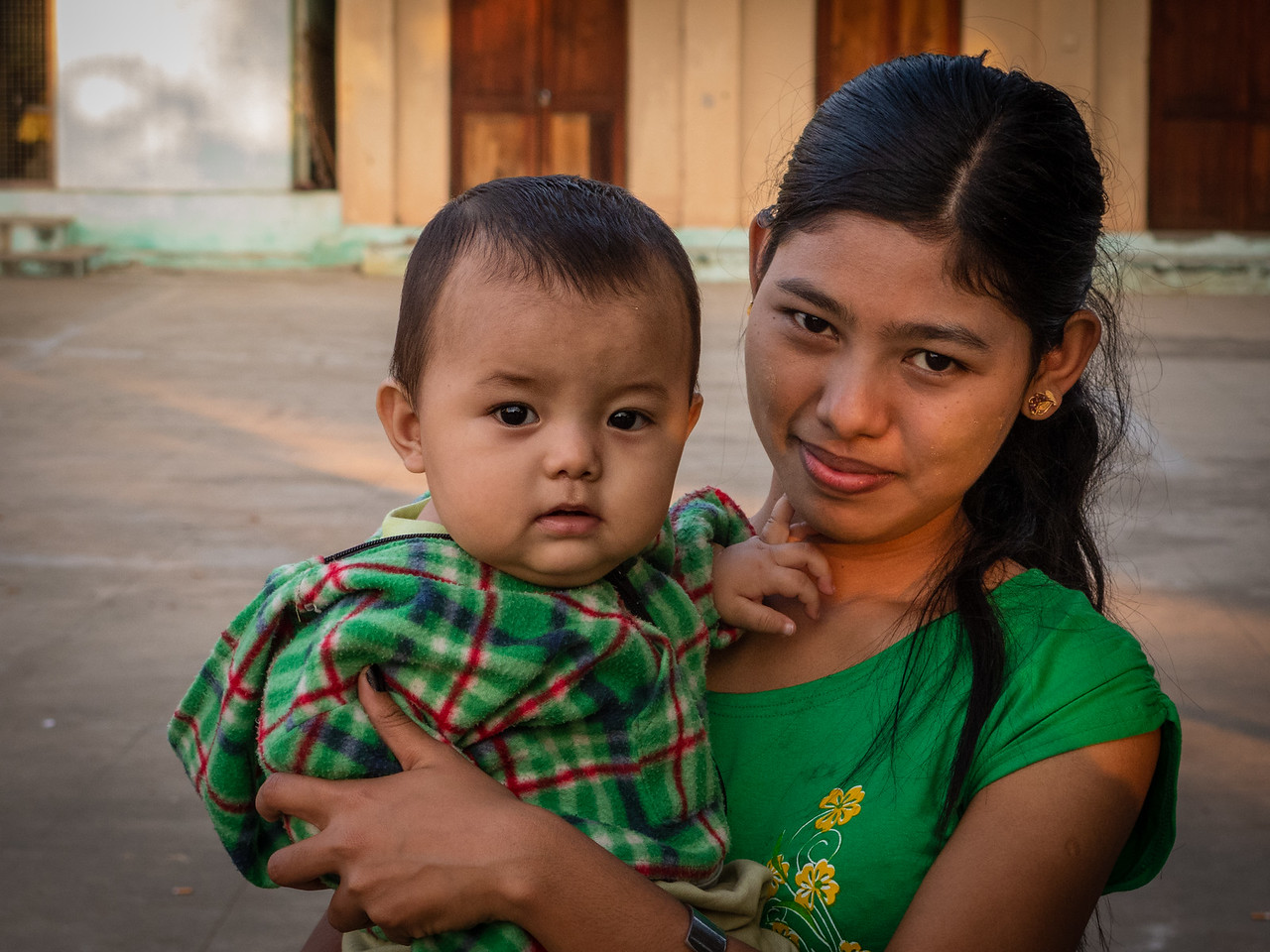 Burmese Woman with her Child in Myanmar
