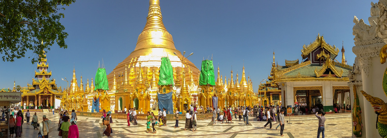Panorama of Shwedagon Pagoda in Yangon, Myanmar