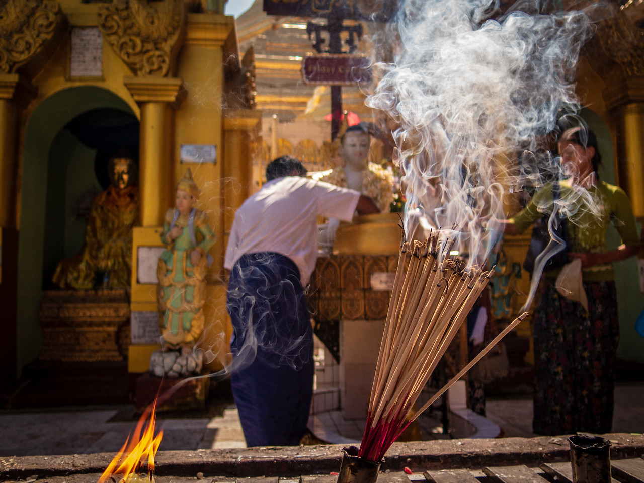 Burning Incense at Shwedagon Pagoda